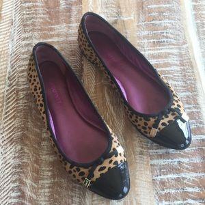 Coach Poppy calf hair leopard print flats